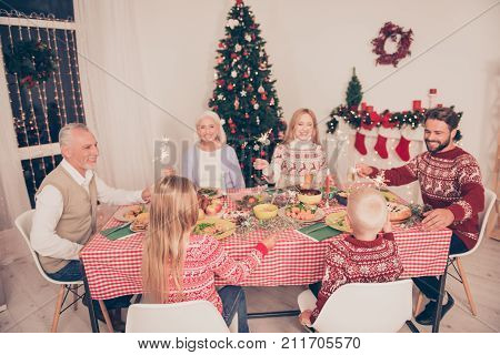 Six Gathered Cheerful Relatives, Setted Festive Desktop With Tasty Food, Married Couples, Siblings,