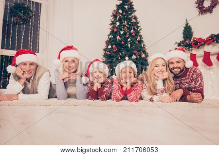 Group Of Six Cheerful Beautiful Relatives Bonding Hug Embrace On Carpet, Married Couples, Excited Si