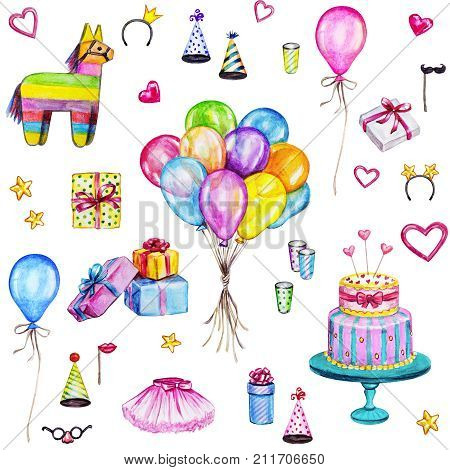 Watercolor Happy Birthday seamless pattern. Hand drawn celebration objects: gift boxes air balloons Birthday cake pinata