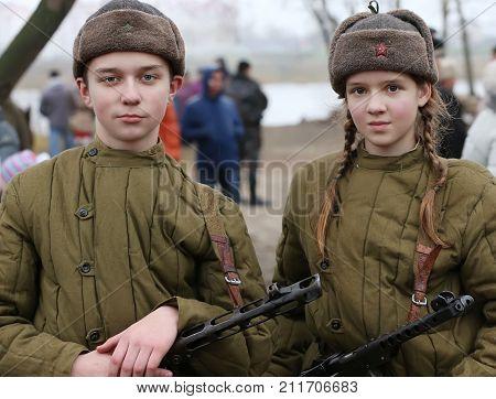 Belarus Gomel November 21 2016 Reconstruction of the battle for World War II. Children are the second world of war.