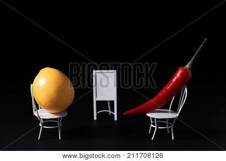 It looks like that is job interview with vegetables