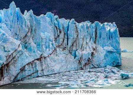 Patagonian province of Santa Cruz, Lake Argentino. On the surface of the glacier, the Kalgaspors -