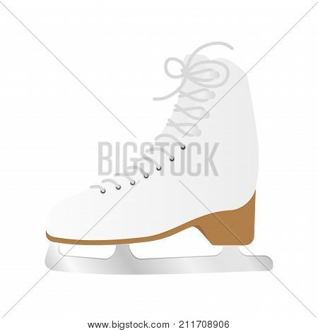 Single ice skate shoe isolated on a white background. Boot with blade. Sports equipment for ice and figure skating.