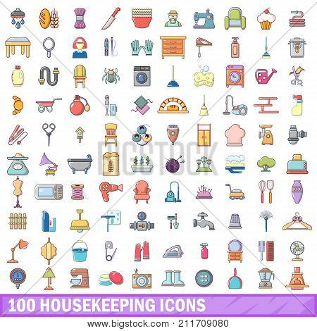 100 housekeeping icons set. Cartoon illustration of 100 housekeeping vector icons isolated on white background