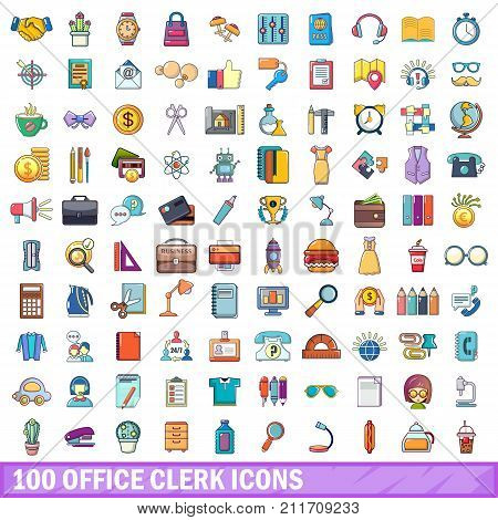 100 office clerk icons set. Cartoon illustration of 100 office clerk vector icons isolated on white background
