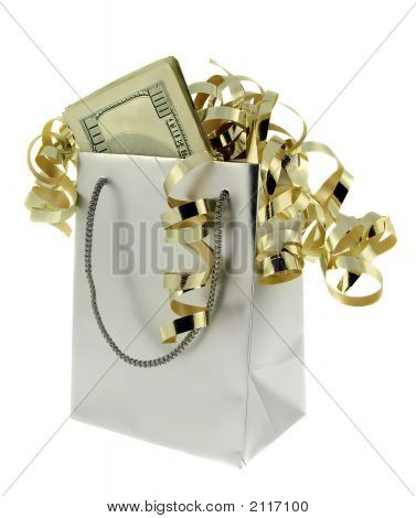 Money In Silver Gift Bag