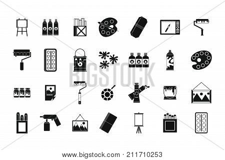 Paint tools icon set. Simple set of paint tools vector icons for web design isolated on white background