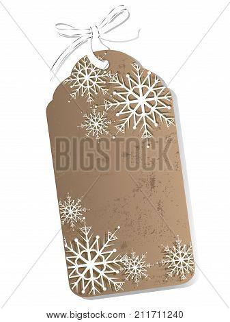 Brown retro gift tag with snowflakes and bow