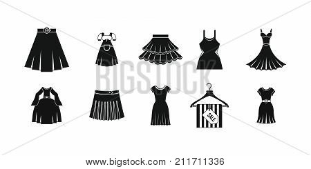 Dress skirt icon set. Simple set of dress skirt vector icons for web design isolated on white background