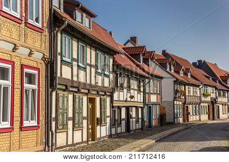 Cobblestoned Street With Half-timbered Houses In Wernigerode