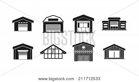 Warehouse icon set. Simple set of warehouse vector icons for web design isolated on white background