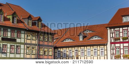 Panorama Of Colorful Half-timbered Houses At The Market Square Of Wernigerode