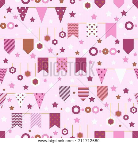 Bounting flags, stars and circles decorative elements seamless pattern. Birthday greeting cards and scrapbooking print. Vector illustration.