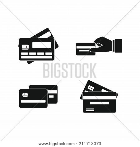 Credit card icon set. Simple set of credit card vector icons for web design isolated on white background