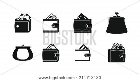 Wallet icon set. Simple set of wallet vector icons for web design isolated on white background