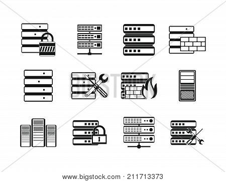Server icon set. Simple set of server vector icons for web design isolated on white background