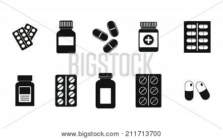 Pills icon set. Simple set of pills vector icons for web design isolated on white background