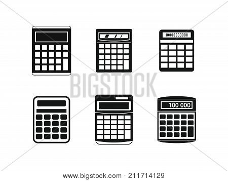 Calculator icon set. Simple set of calculator vector icons for web design isolated on white background