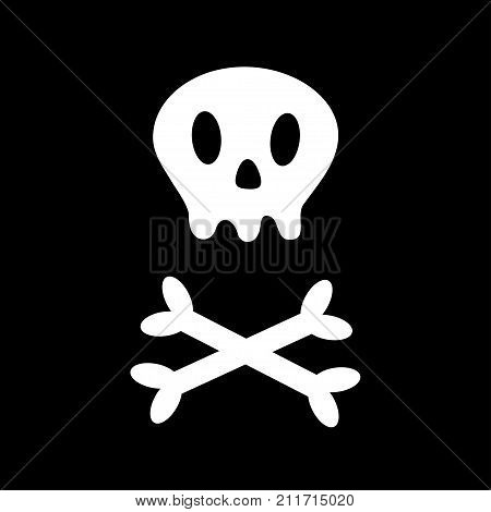 Skull with bone crosswise icon. White crossbones. Skeleton body part. Happy Halloween sign symbol. Cute cartoon simple character. Pirate flag element. Black background. Isolated. Flat design. Vector