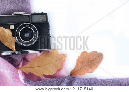 Vintage Analogue Photo Camera in Dry Maple Leaveson white background, Top View