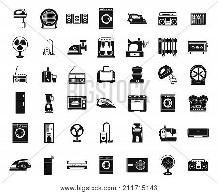 Appliances icon set. Simple set of appliances vector icons for web design isolated on white background