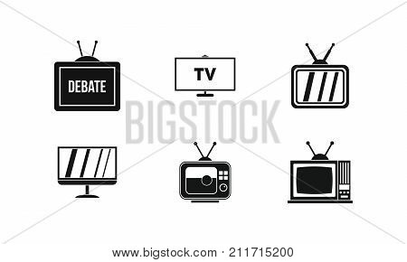 Tv icon set. Simple set of tv vector icons for web design isolated on white background