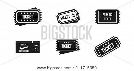 Ticket icon set. Simple set of ticket vector icons for web design isolated on white background