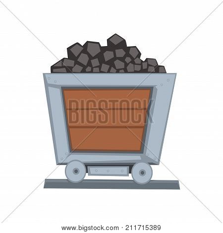 Mining wooden little wagon loaded with coal on railway. Coal shipping container. Transport for carrying raw materials. Mining and quarrying industry. Vector illustration in flat style isolated on white.