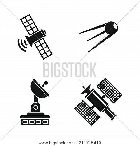 Satellite icon set. Simple set of satellite vector icons for web design isolated on white background