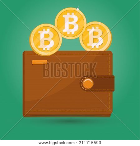 Bitcoin Wallet. Gold Physical bit coin. Digital crypto currency blockchain sign icon, internet bank, Bitcoins money trading , flat design. Vector