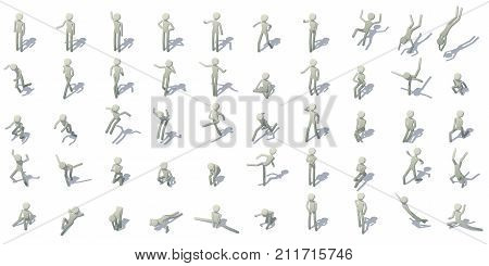 Stick man figures icons set. Isometric illustration of 16 stick man figures vector icons for web
