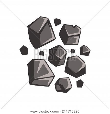 Cartoon lumps of coal. Energy resource, mining and quarrying. Flammable black hard rock. Coal mining industry. Vector illustration in flat style isolated on white background.
