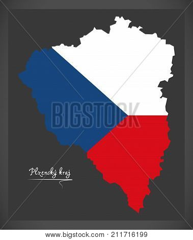 Plzensky Kraj Map Of The Czech Republic With National Flag Illustration