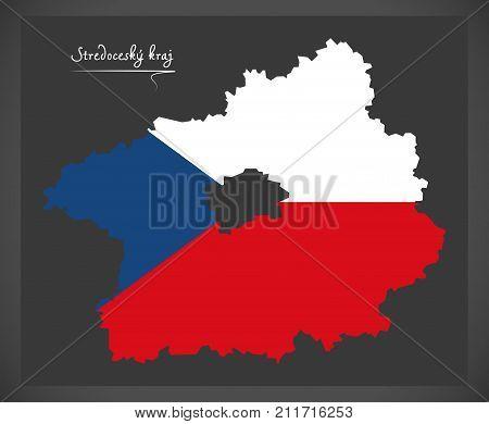 Stredocesky Kraj Map Of The Czech Republic With National Flag Illustration