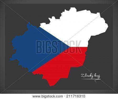 Zlinsky Kraj Map Of The Czech Republic With National Flag Illustration