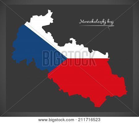 Moravskoslezsky Kraj Map Of The Czech Republic With National Flag Illustration