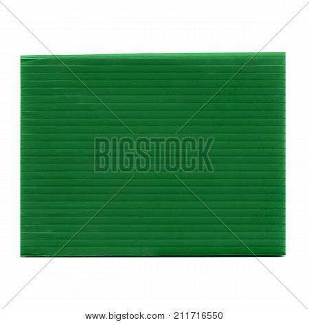 Green Corrugated Polypropylene Plastic Texture Background Isolated Over White