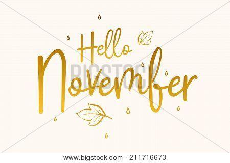 Hello November calligraphy inscription. Vector illustration EPS10