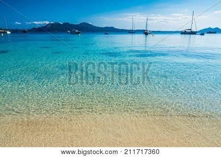 Clear water at playa de Formentor (Cala Pi de la Posada ) Palma Mallorca Spain