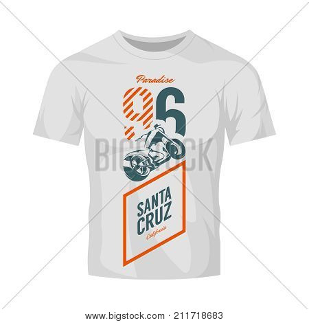Vintage motorcycle vector logo isolated on white t-shirt mock up. Premium quality biker gang logotype tee-shirt emblem illustration. Santa Cruz, California street wear superior retro tee print design.
