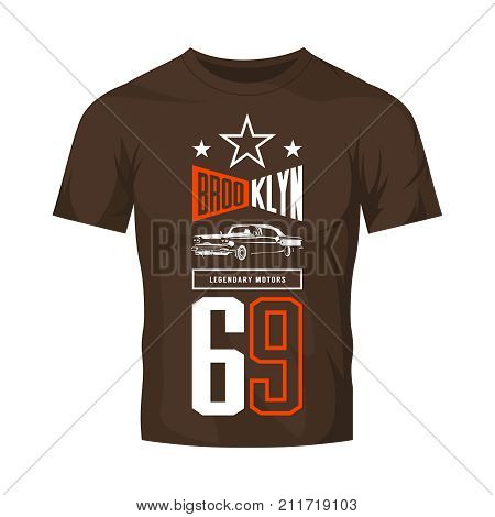 Vintage luxury vehicle vector logo isolated on dark t-shirt mock up. Premium quality classic car logotype tee-shirt emblem illustration. Brooklyn, New York street wear number retro tee print design.