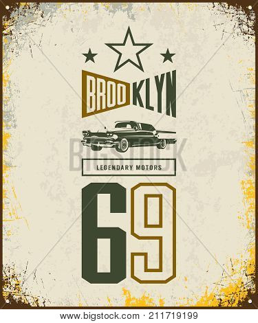Vintage luxury vehicle vector logo isolated on light background. Premium quality classic car logotype tee-shirt emblem illustration. Brooklyn, New York street wear number retro tee print design.