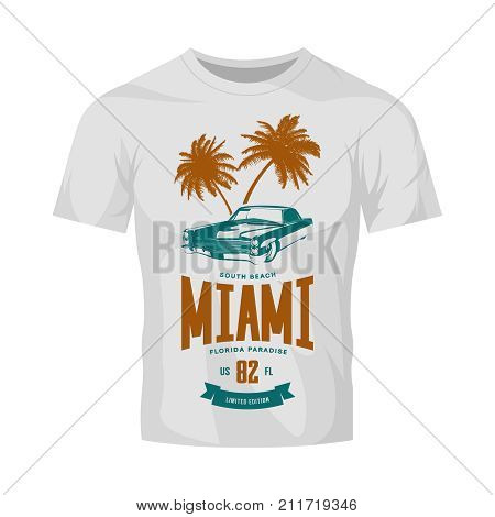 Vintage luxury vehicle vector logo isolated on white t-shirt mock up. Premium quality classic car logotype tee-shirt emblem illustration. Miami, Florida street wear superior retro tee print design.