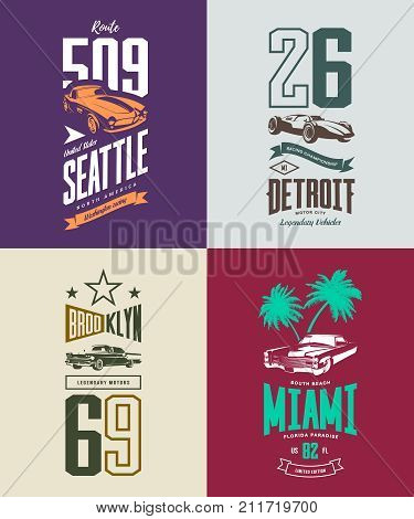 Vintage roadster, classic and sport car isolated vector t-shirt logo set. Premium quality old vehicle logotype tee-shirt emblem illustration. Street wear superior number retro tee print design.