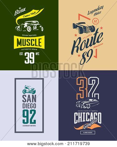 Vintage hot rod, classic car and motorcycle isolated vector t-shirt logo set. Premium quality old sport vehicle logotype tee-shirt emblem illustration. Street wear superior retro tee print design.