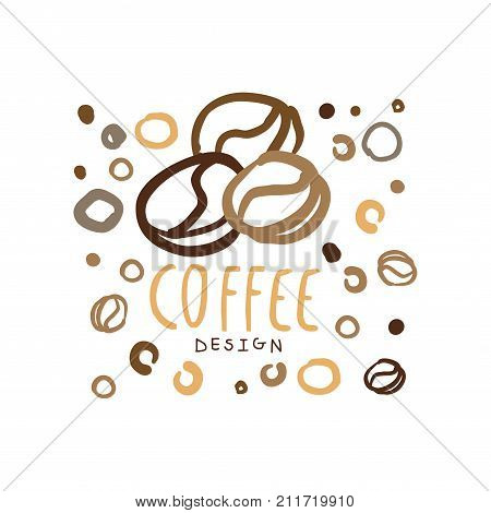 Hand drawn coffee shop logo template design with coffee beans. Cafe, bar or company label for menu cover, cup print, card, brand identity. Coffee to go badge with lettering. Doodle vector on white.