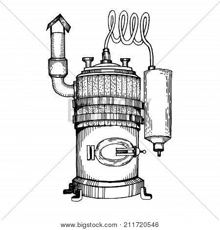 Alcohol distilling machine engraving vector illustration. Moonshine. Scratch board style imitation. Hand drawn image.