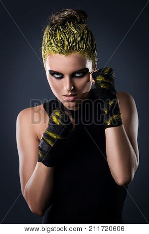 Woman Mma Fighter With Yellow Hair