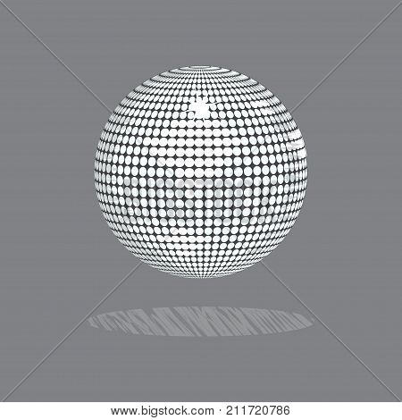 2D Illustration Drawing Style of a White Disco Ball with Scratched Shadow Over Gray Background
