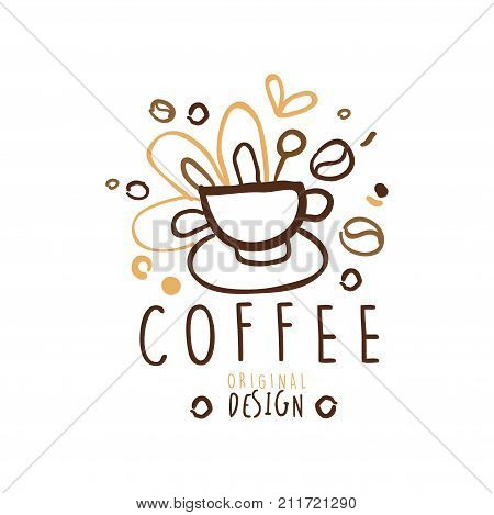Hand drawn original logo design with cup of coffee. Business or company label for menu cover, cup print, card, brand identity. Coffee to go, take away badge with lettering. Kids doodle vector on white